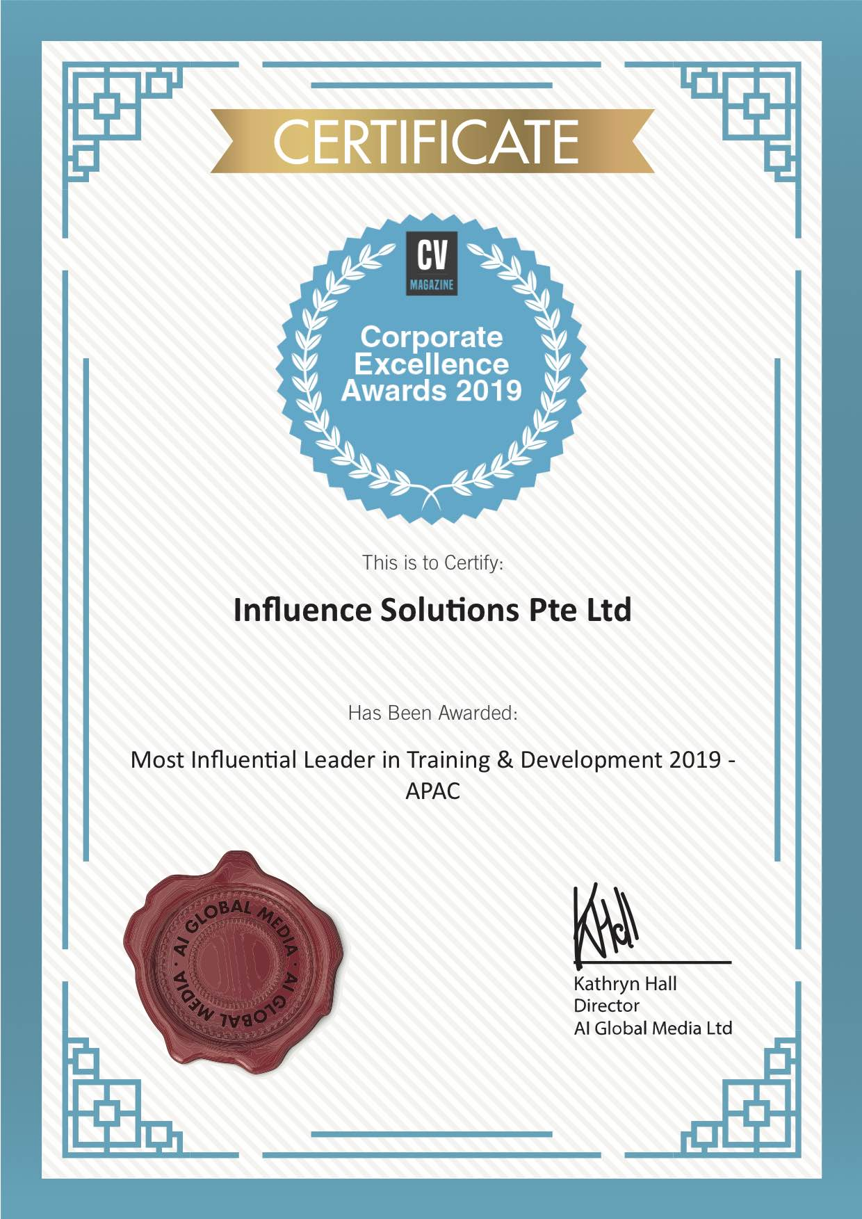 Most Influential Training and Development Company in Asia Pacific